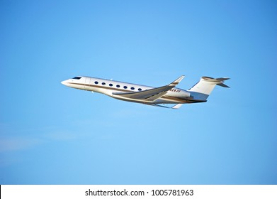 LOS ANGELES/CALIFORNIA - JAN. 14, 2018: Privately owned Gulstream G650 aircraft is airborne as it departs Los Angeles International Airport. Los Angeles, California USA