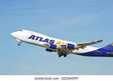 LOS ANGELES/CALIFORNIA - JAN. 27, 2018: Atlas Air Boeing 747 Cargo aircraft is airborne as it departs Los Angeles International Airport. Los Angeles, California USA