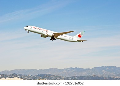 LOS ANGELES/CALIFORNIA - JANUARY 19, 2019: Air Canada Boeing 787 Dreamliner aircraft is airborne as it departs Los Angeles International Airport. Los Angeles, California USA