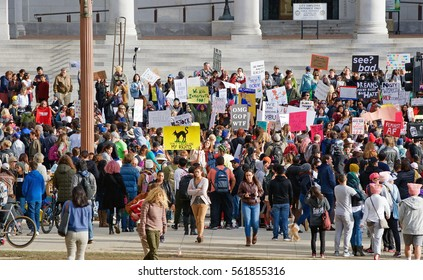 "LOS ANGELES/CALIFORNIA - JANUARY 21, 2017: An historic worldwide ""Womens March"" brings thousands of protesters gathered in front of City Hall downtown Los Angeles. Los Angeles, California USA"