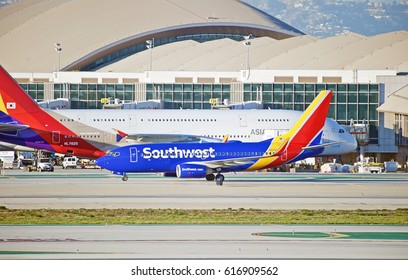 LOS ANGELES/CALIFORNIA - JANUARY 28, 2017: Southwest Airlines Boeing 737 aircraft taxiing along the runway at Los Angeles International Airport, Los Angeles   California USA