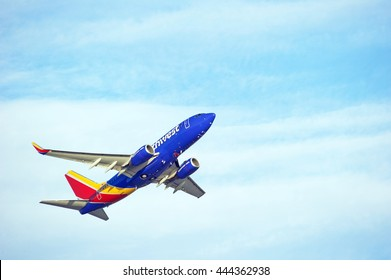 LOS ANGELES/CALIFORNIA - JUNE 18, 2016: Southwest Airlines Boeing 737 commercial aircraft is airborne as it departs Los Angeles International Airport, Los Angeles, California USA
