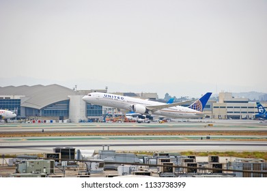 LOS ANGELES/CALIFORNIA - JUNE 23, 2018: United Airlines Boeing 787 Dreamliner aircraft is airborne as it departs Los Angeles International Airport. Los Angeles, California USA