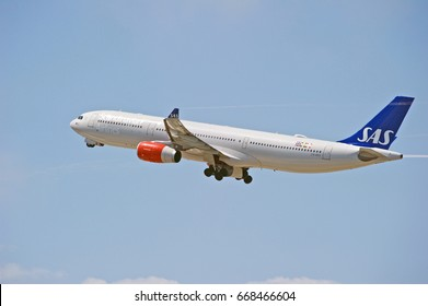 LOS ANGELES/CALIFORNIA - JUNE 24, 2017: Scandinavian Airlines Airbus A330-343 aircraft is airborne as it departs Los Angeles International Airport. Los Angeles, California USA