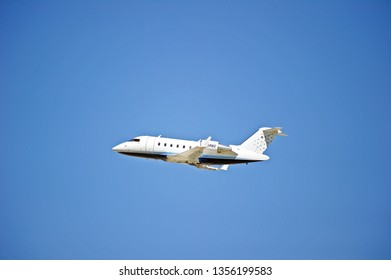LOS ANGELES/CALIFORNIA - MARCH 16, 2019: Privately owned Bombardier CL-600-2B16 Challenger 605 aircraft is airborne as it departs Los Angeles International Airport. Los Angeles, California USA