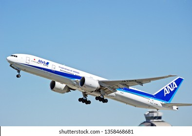 LOS ANGELES/CALIFORNIA - MARCH 16, 2019: All Nippon Airways Boeing 777-381(ER) aircraft is airborne as it departs Los Angeles International Airport. Los Angeles, California USA