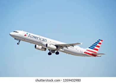 LOS ANGELES/CALIFORNIA - MARCH 16, 2019: American Airlines Airbus A321  aircraft is airborne as it departs Los Angeles International Airport. Los Angeles, California USA