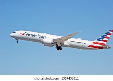 LOS ANGELES/CALIFORNIA - MARCH 16, 2019: American Airlines Boeing 787-9 Dreamliner aircraft is airborne as it departs Los Angeles International Airport. Los Angeles, California USA