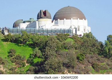 LOS ANGELES/CALIFORNIA - MARCH 25, 2018: The Griffith Observatory. A popular tourist attraction on Mount Hollywood with extensive space and science-related displays. Los Angeles, California USA