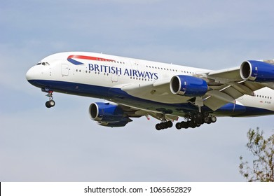 LOS ANGELES/CALIFORNIA - MARCH 31, 2018: British Airways Airbus A380 aircraft approaching the runway to make a landing at Los Angeles International Airport. Los Angeles, California USA
