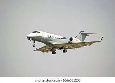 LOS ANGELES/CALIFORNIA - MARCH 31, 2018, Bombardier BD-100-1A10 aircraft approaching the runway to make a landing at Los Angeles International Airport. Los Angeles, California USA