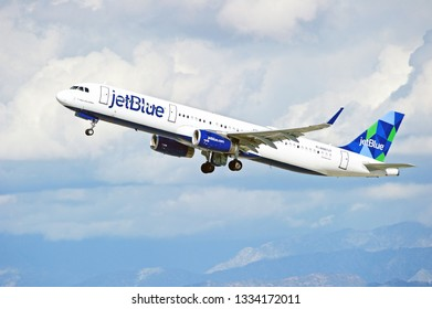 LOS ANGELES/CALIFORNIA - March 9, 2019: JetBlue Airbus A321 aircraft is airborne as it departs Los Angeles International Airport. Los Angeles, California USA