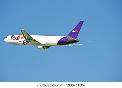 LOS ANGELES/CALIFORNIA - MARCH 9, 2019: Federal Express (FedEx) Boeing 767 aircraft is airborne as it departs Los Angeles International Airport. Los Angeles, California USA