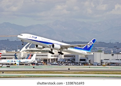LOS ANGELES/CALIFORNIA - MARCH 9, 2019: All Nippon Airways (ANA) Boeing 777 aircraft is airborne as it departs Los Angeles International Airport. Los Angeles, California USA