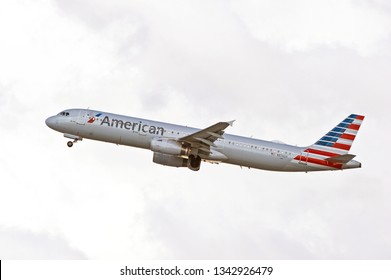 LOS ANGELES/CALIFORNIA - MARCH 9, 2019: American Airlines Airbus A321 aircraft is airborne as it departs Los Angeles International Airport. Los Angeles, California USA