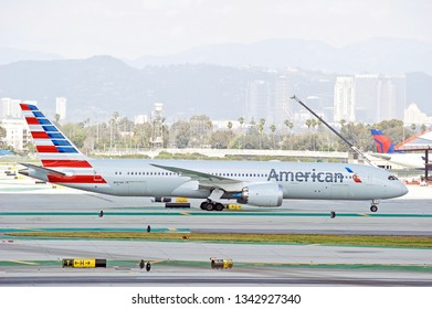LOS ANGELES/CALIFORNIA - MARCH 9, 2019: American Airlines Boeing 787 Dreamliner taxiing along the tarmac at Los Angeles International Airport. Los Angeles, California USA