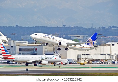 LOS ANGELES/CALIFORNIA - MARCH 9, 2019: United Airlines Boeing 737 MAX9 aircraft is airborne as it departs Los Angeles International Airport. Los Angeles, California USA