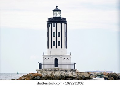 LOS ANGELES/CALIFORNIA - MAY 13, 2018: Angels Gate Lighthouse marking the entrance into the Port Los Angeles. One of the largest seaports in North America. San Pedro, California USA