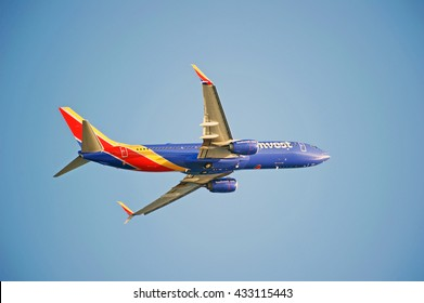 LOS ANGELES/CALIFORNIA - MAY 22, 2016: Southwest Airlines Boeing 737-8H4 is airborne as it departs Los Angeles International Airport, Los Angeles, California USA
