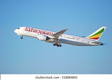 LOS ANGELES/CALIFORNIA - NOV. 13, 2016: Ethiopian Airlines Boeing 787-8 Dreamliner aircraft is airborne as it departs Los Angeles International Airport, Los Angeles, California USA