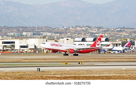 LOS ANGELES/CALIFORNIA - NOV. 13, 2016: Air Berlin Airbus A330-223 aircraft is airborne as it departs Los Angeles International Airport, Los Angeles, California USA