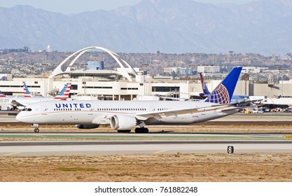 LOS ANGELES/CALIFORNIA - OCT. 21, 2017: United Airlines Boeing 787-9 Dreamliner aircraft taxiing along the runway upon arrival at Los Angeles International Airport. Los Angeles, California USA