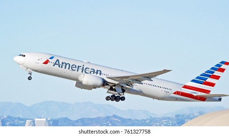 LOS ANGELES/CALIFORNIA - OCT. 21, 2107: American Airlines Boeing 777-223(ER) aircraft is airborne as it departs Los Angeles International Airport. Los Angeles, California USA