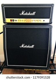 """LOS ANGELES/CALIFORNIA - SEPT. 10, 2018: Marshall DSL 100W """"half stack"""" tube amp head with cabinet containing four 12in. celestion speakers. Los Angeles, California USA"""