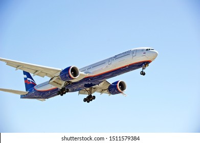 LOS ANGELES/CALIFORNIA - SEPT. 21, 2019: Aeroflot Airlines Boeing 777-3M0(ER) aircraft approaching the runway for a landing at Los Angeles International Airport. Los Angeles, California USA