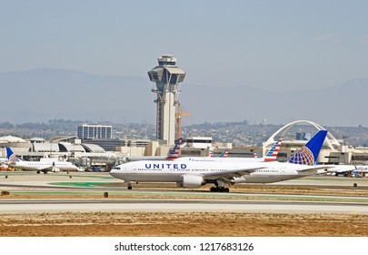 LOS ANGELES/CALIFORNIA - SEPT. 23, 2018: United Airlines Boeing 777-222 aircraft is airborne as it departs Los Angeles International Airport. Los Angeles, California USA