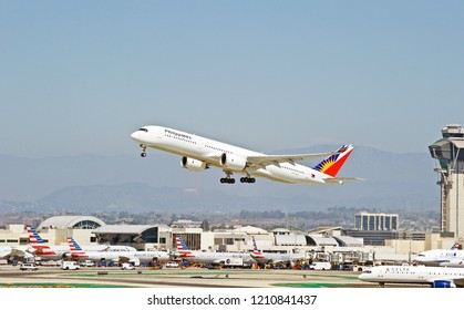 LOS ANGELES/CALIFORNIA - SEPT. 29, 2018: Philippine Airlines Airbus A350-941 aircraft is airborne as it departs Los Angeles International Airport. Los Angeles, California USA
