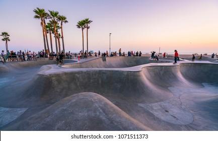 Los Angeles,California,usa. -07/24/16 . skate board park in Venice beach,California,usa.