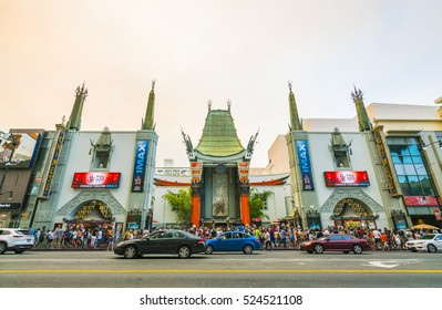 Los Angeles,California,usa. 2016/07/23. :Chinese theatre at sunset,Hollywood boulevard,blvd, road at sunset,Los Angeles,California,usa.