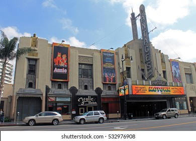 LOS ANGELES,CALIFORNIA,USA - MAY 20,2015 - Famous Pantages theater facade view  on sunny day in Los Angeles