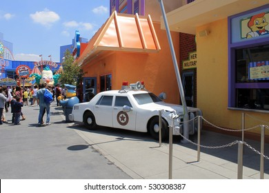 LOS ANGELES,CALIFORNIA,USA - MAY 20,2015: Universal studio - police car collision in Simpsons park area
