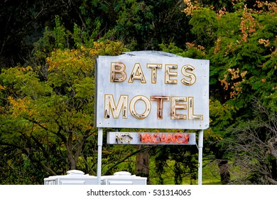 "LOS ANGELES,CALIFORNIA,USA - Oct 26,2015: Universal studios Hollywood - Bates Motel Sign from famous Hitchcock movie ""PSYCHO"""