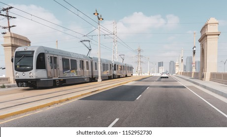 Los Angeles,CA/USA - 6.2.15: The Los Angeles Metro Rail is an urban rail transporation system serving Los Angeles County, California.