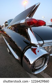 Los Angeles,CA/USA - April 12,2011: close up of tail fin of a classic 1959 Cadillac Coupe de Ville at dusk.