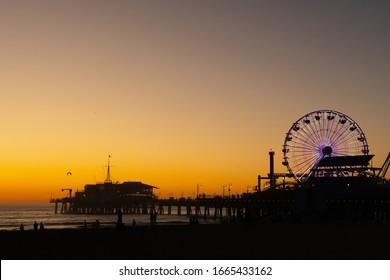 LOS ANGELES/CA/USA - NOVEMBER 10, 2019 - Sunset in Santa Monica Pier, Los Angeles.