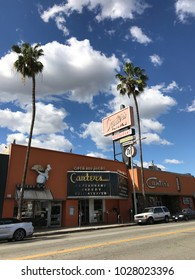 LOS ANGELES,FEB 13th 2018: Exterior shot of the famous, historic Canter's Restaurant and Deli on Fairfax Avenue in the Fairfax District of Los Angeles, against a blue sky with white clouds and palms.