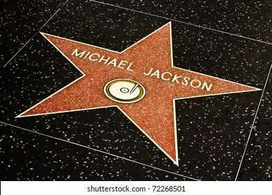 LOS ANGELES-MARCH 1: Michael Jackson's star on the Hollywood Walk of Fame on March 1, 2011 in Los Angeles.  The singer's star and the Walk of Fame draw tourists from all over the world.