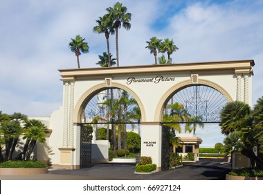 LOS ANGELES-NOVEMBER 27: The main gate to Paramount Studios on November 27, 2010 in Los Angeles. The iconic studio continues filmmaking since 1931 and remains the one actually located in Hollywood.