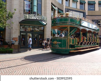 LOS ANGELES,OCT 7TH 2016: The Grove Trolley drives past the Barnes and Nobles Store. The Grove is a unique and upscale retail and entertainment complex in the Fairfax District of Los Angeles.