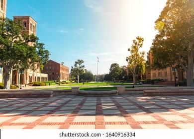Los Angeles/USA- 02.02.2020 :  UCLA University of California at los angeles campus building red bricks