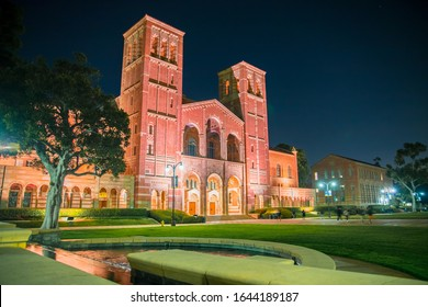 Los Angeles/USA- 02.02.2020 :   UCLA University of California at los angeles campus building at night time