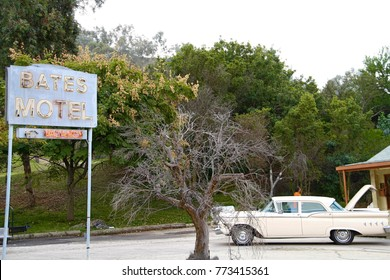 """Los Angeles,USA - Oct 26,2015: View of Bates Motel movie set from famous Hitchcock movie """"PSYCHO"""" at Universal studios Hollywood."""