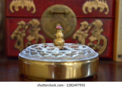 Los Angeles/USA-12/28/2018: Buddhist artifacts and items of worship