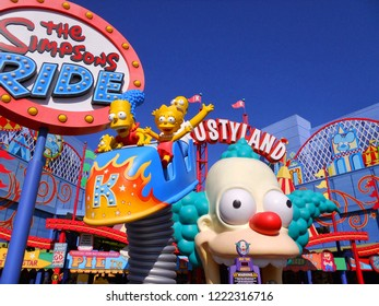 Los Angeles,USA/Sep 08,2014:Universal Studios Hollywood - Attractions in Simpsons