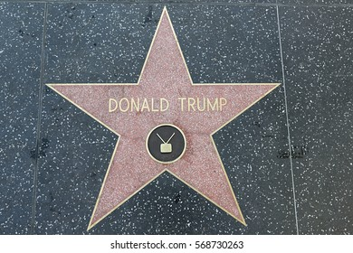 Los Angelis, CA, USA - January 26, 2017: Donald Trump star on the Hollywood Walk of Fame. The Hollywood Walk of Fame comprises more than 2500 five pointed terrazzo and brass stars.