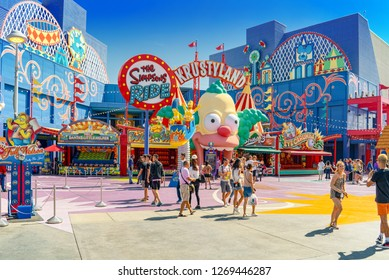 Los Angelos, California, USA - September 07, 2018: World famous park Universal Studios in Hollywood.The Simpsons Area.
